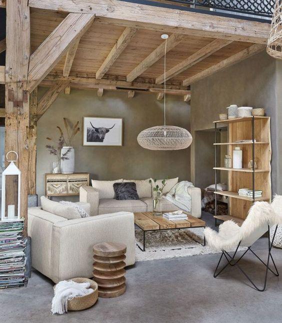 salon avec charpente en bois