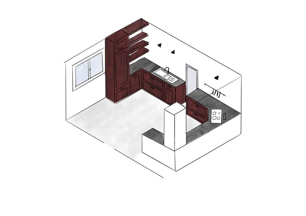 dessin aménagement cuisine
